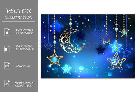Gold Crescent on Blue Background Graphic Illustrations By Blackmoon9