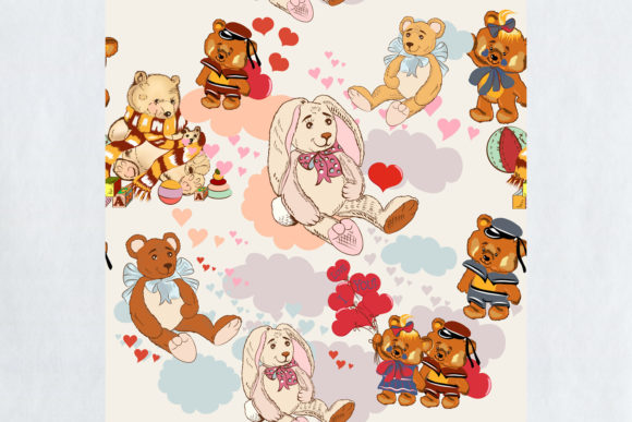 Download Free Cute Vector Children Pattern Pretty Toys Graphic By for Cricut Explore, Silhouette and other cutting machines.