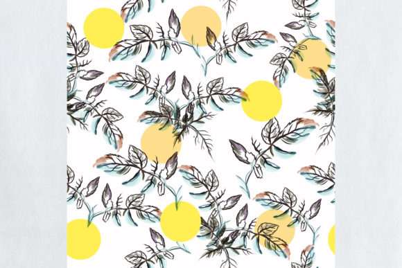 Pattern with Watercolor Leaves and Circl Graphic Patterns By fleurartmariia - Image 2