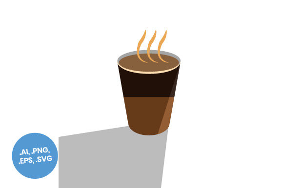 Download Free Coffee Cup Shadow Flat Icon Graphic By Sasongkoanis Creative for Cricut Explore, Silhouette and other cutting machines.
