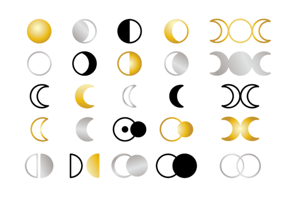 Moon Cycle Icons Clip Art Set Graphic