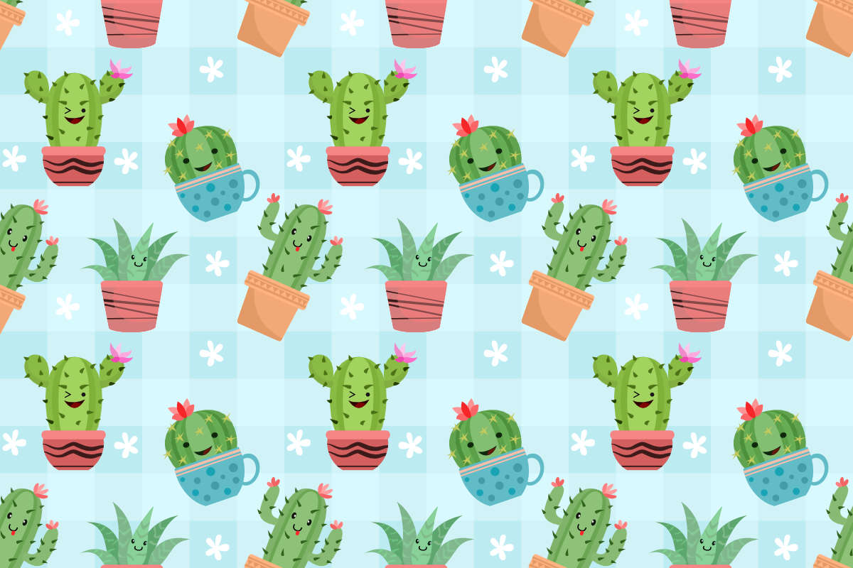 Download Free Cute Cactus In Pots Seamless Pattern Graphic By Ranger262 for Cricut Explore, Silhouette and other cutting machines.