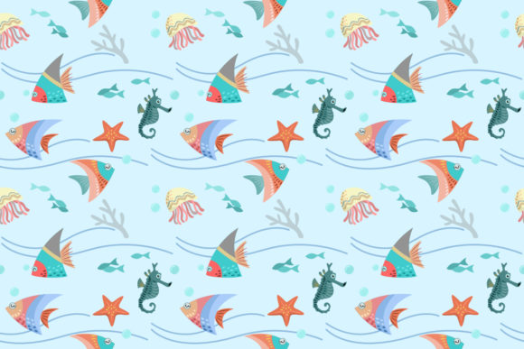Download Free Graphic Design Of Sea Life Pattern Graphic By Ranger262 for Cricut Explore, Silhouette and other cutting machines.