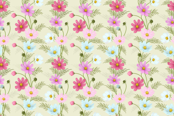 Colorful Cosmos Flowers Seamless Pattern Graphic Patterns By ranger262