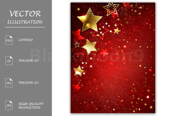 Gold Star on a Red Background Graphic Backgrounds By Blackmoon9
