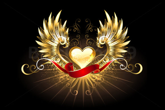 Golden Heart with Golden Wings Graphic Illustrations By Blackmoon9