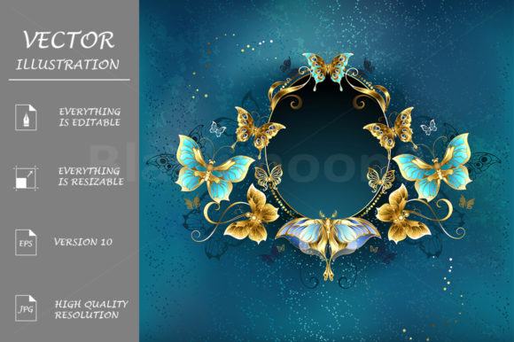 Oval Banner with Luxurious Butterflies Graphic Illustrations By Blackmoon9