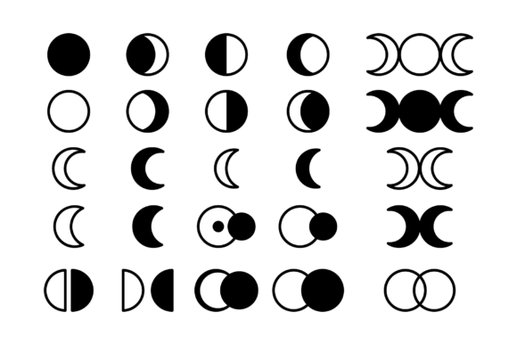 Moon Cycle Icons Clip Art Set Graphic Downloadable Digital File