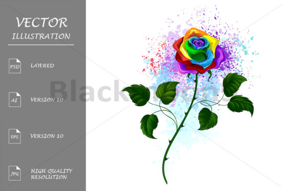 Rainbow Rose Graphic Illustrations By Blackmoon9