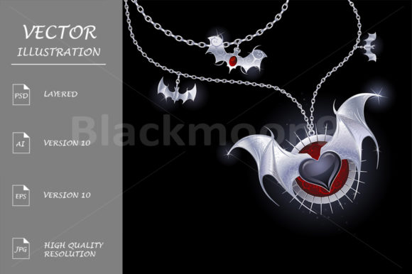 Silver Heart of a Vampire Graphic Illustrations By Blackmoon9