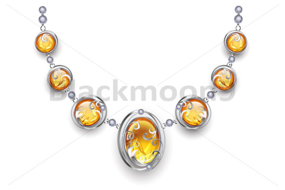 Silver Necklace with Amber Graphic Illustrations By Blackmoon9