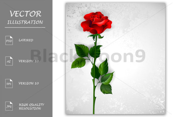 Straight Red Rose Graphic Illustrations By Blackmoon9