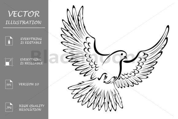 Stylized Dove Graphic Illustrations By Blackmoon9