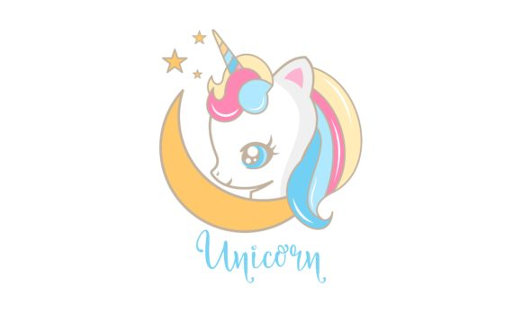Download Free Cute Cartoon Unicorn Fantasy Logo Vector Graphic By Deemka for Cricut Explore, Silhouette and other cutting machines.