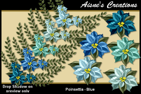 Print on Demand: Poinsettia - Blue Graphic Objects By Aisne