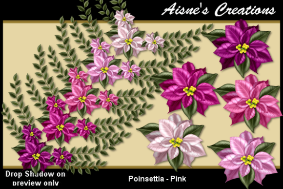 Print on Demand: Poinsettia - Pink Graphic Objects By Aisne