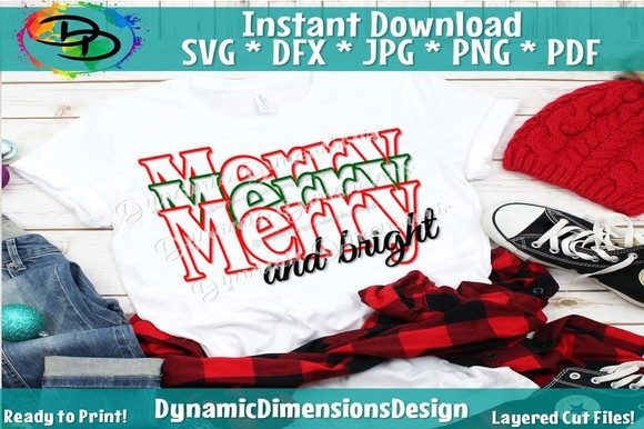 Download Free Merry Christmas Svg Merry And Bright Graphic By SVG Cut Files