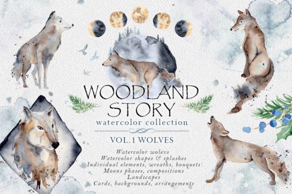 Woodland Story Vol.1 Wolf Graphic Illustrations By EvgeniiasArt
