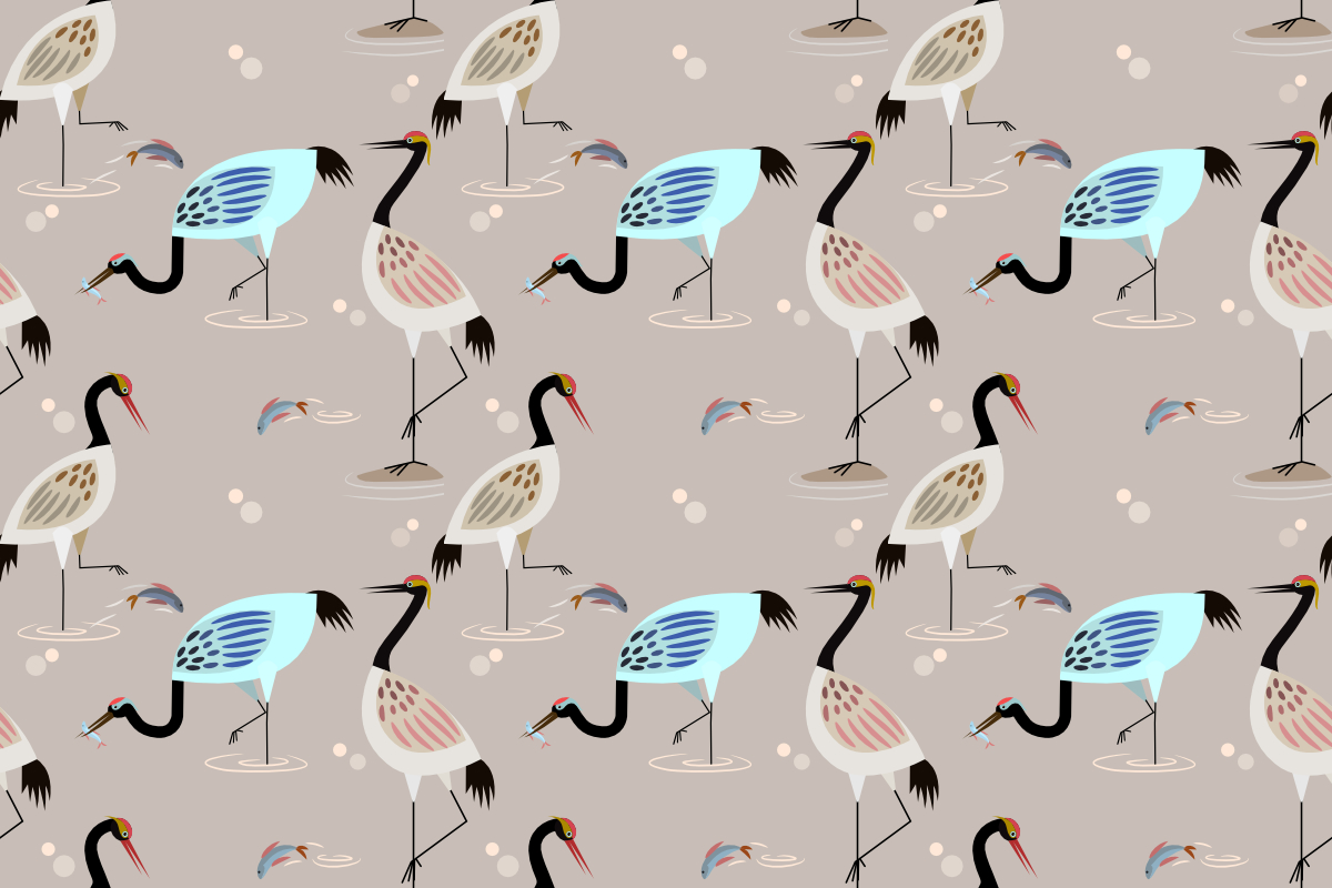 Download Free Herons Bird In Pond Seamless Pattern Graphic By Ranger262 for Cricut Explore, Silhouette and other cutting machines.