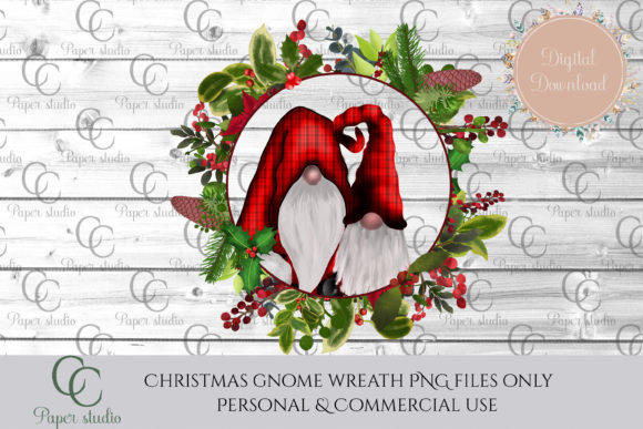 Download Free Gnome Wreath Graphic By Cc Paper Studio Creative Fabrica for Cricut Explore, Silhouette and other cutting machines.