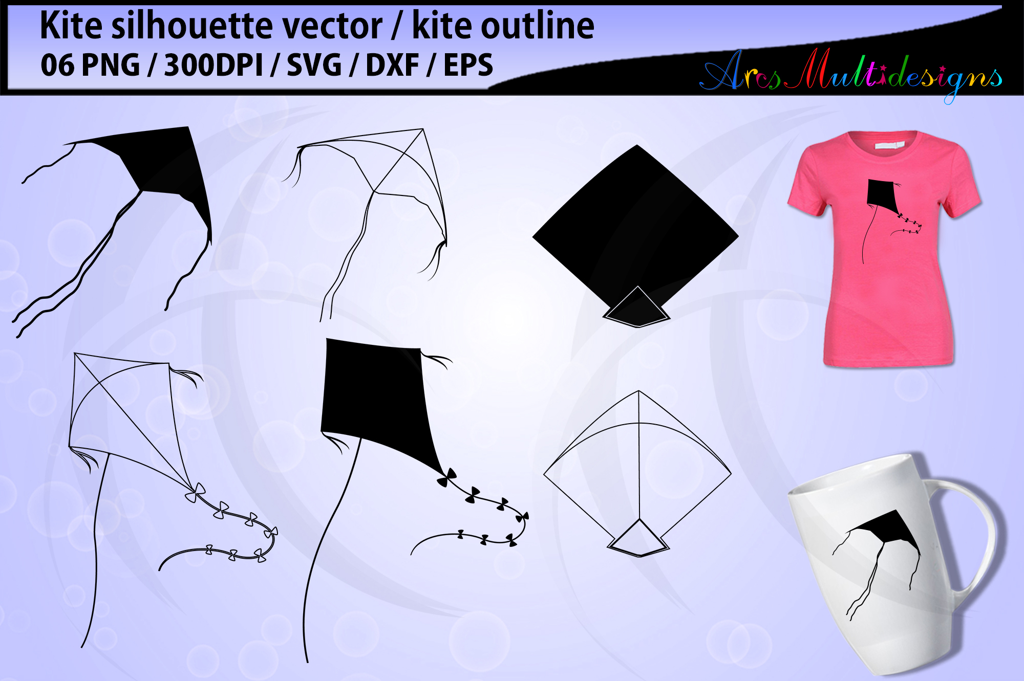 Download Free Kite Kite Silhouette Kite Graphic By Arcs Multidesigns for Cricut Explore, Silhouette and other cutting machines.