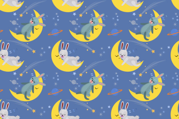 Download Free Cute Cartoon Bunny Sleeping On The Moon Graphic By Ranger262 for Cricut Explore, Silhouette and other cutting machines.