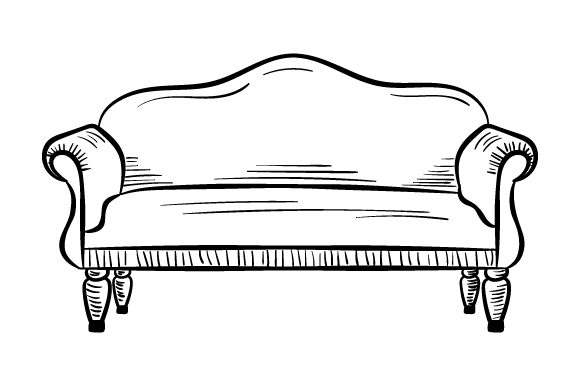 Sofa (sketch Drawing Style) Home Craft Cut File By Creative Fabrica Crafts