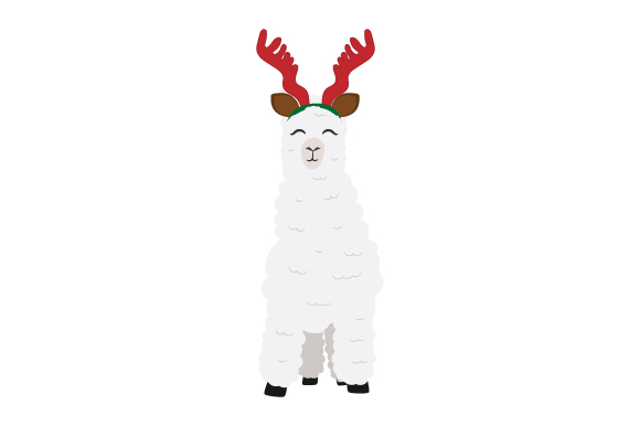 Download Free Llama With Reindeer Antlers Svg Cut File By Creative Fabrica for Cricut Explore, Silhouette and other cutting machines.