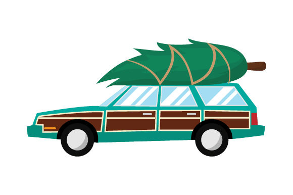Station Wagon With Christmas Tree Svg Cut File By Creative
