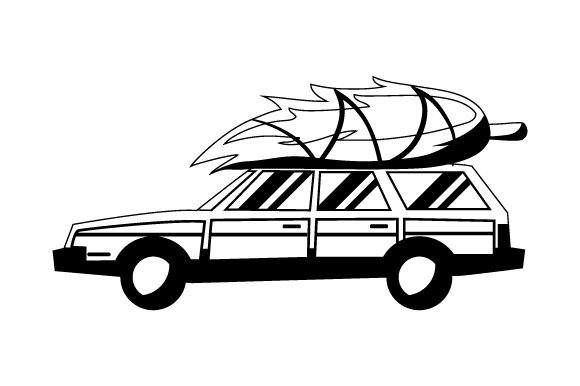 Station Wagon with Christmas Tree Christmas Craft Cut File By Creative Fabrica Crafts - Image 2