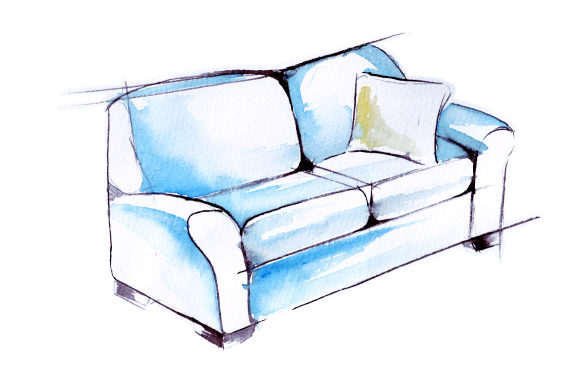 Blue Sofa with Yellow Pilow in Sketch Watercolor Drawing Style Home Craft Cut File By Creative Fabrica Crafts