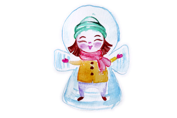 Girl Making Snowangel in Watercolor Style Christmas Craft Cut File By Creative Fabrica Crafts