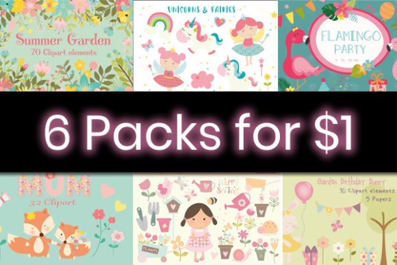 Print on Demand: 6 Whimsical Summer Graphic Packs Graphic By poppymoondesign