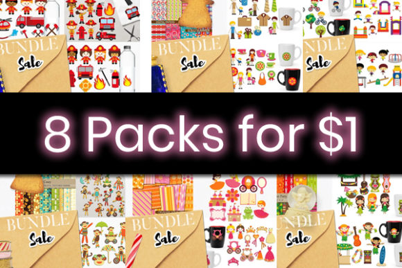 Print on Demand: 8 Cute Kids Clipart Packs Graphic By Revidevi
