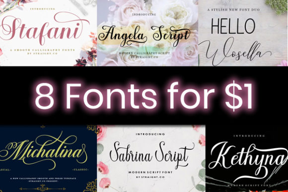 Print on Demand: 8 Elegant Script Fonts Font By STRAIGHT.CO