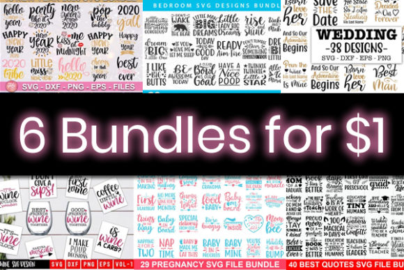 Print on Demand: 6 Cute and Friendly Quote Bundles Graphic By DesignSmile