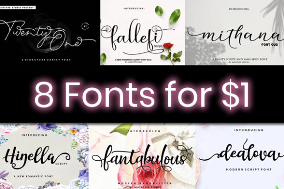 Print on Demand: 8 Swashy Script Fonts Font By akifatype