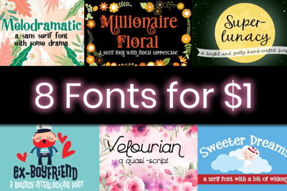 Print on Demand: 8 Whimsical Fonts Font By Illustration Ink
