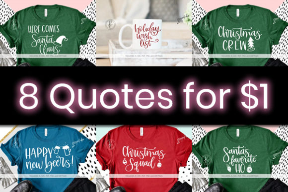 Print on Demand: 8 Fantastic Holiday Quotes Bundle Graphic By BeckMcCormick