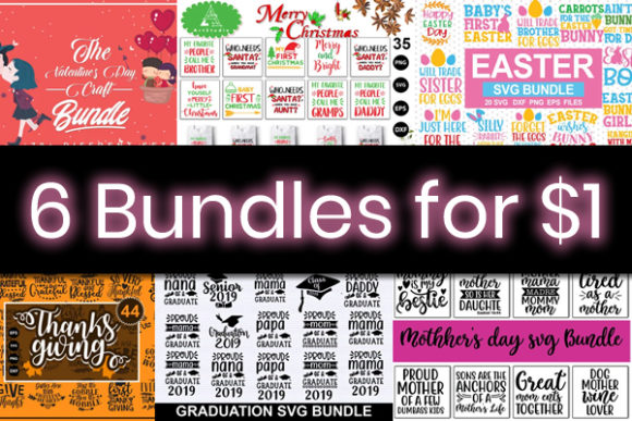 Print on Demand: 6 Festive Quote Bundles Graphic By svgbundle.net