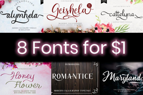 Print on Demand: 8 Swashy Script Fonts Font By MJB Letters