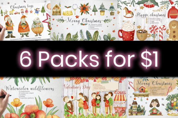 Print on Demand: 6 Heavenly Holiday Bundle Gráfico Por By Anna Sokol