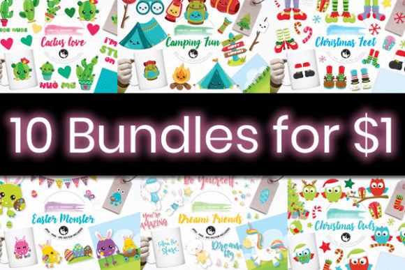 Print on Demand: 10 Fresh and Friendly Graphic Bundles Graphic By Prettygrafik