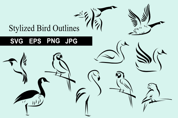 Print on Demand: Stylized Bird Outlines Graphic Icons By artbyliz - Image 1