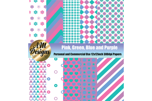 Pink Green Blue And Purple Pattern Paper Graphic By Am Digital Designs Creative Fabrica