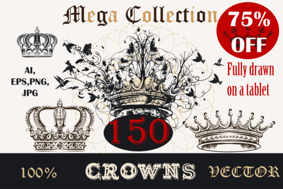 Bundle of Vector Crowns Graphic Objects By fleurartmariia