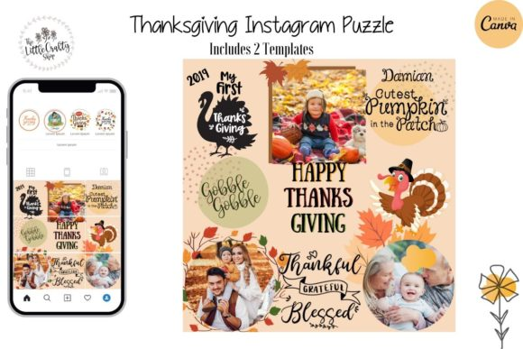 Thanksgiving Instagram Puzzle Template Graphic Instapage By The Little Crafty Shop