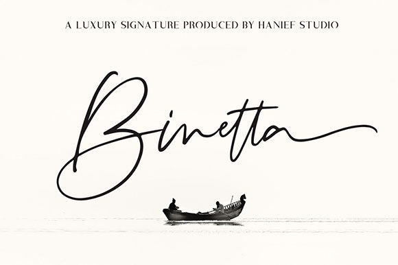 Print on Demand: Binetta Signature Script & Handwritten Font By Hanzel Studio