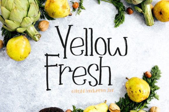 Print on Demand: Yellow Fresh Script & Handwritten Font By delishadesign.font