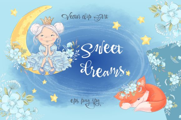 Print on Demand: Sweet Dreams – Vector Clip Art Graphic Illustrations By nicjulia